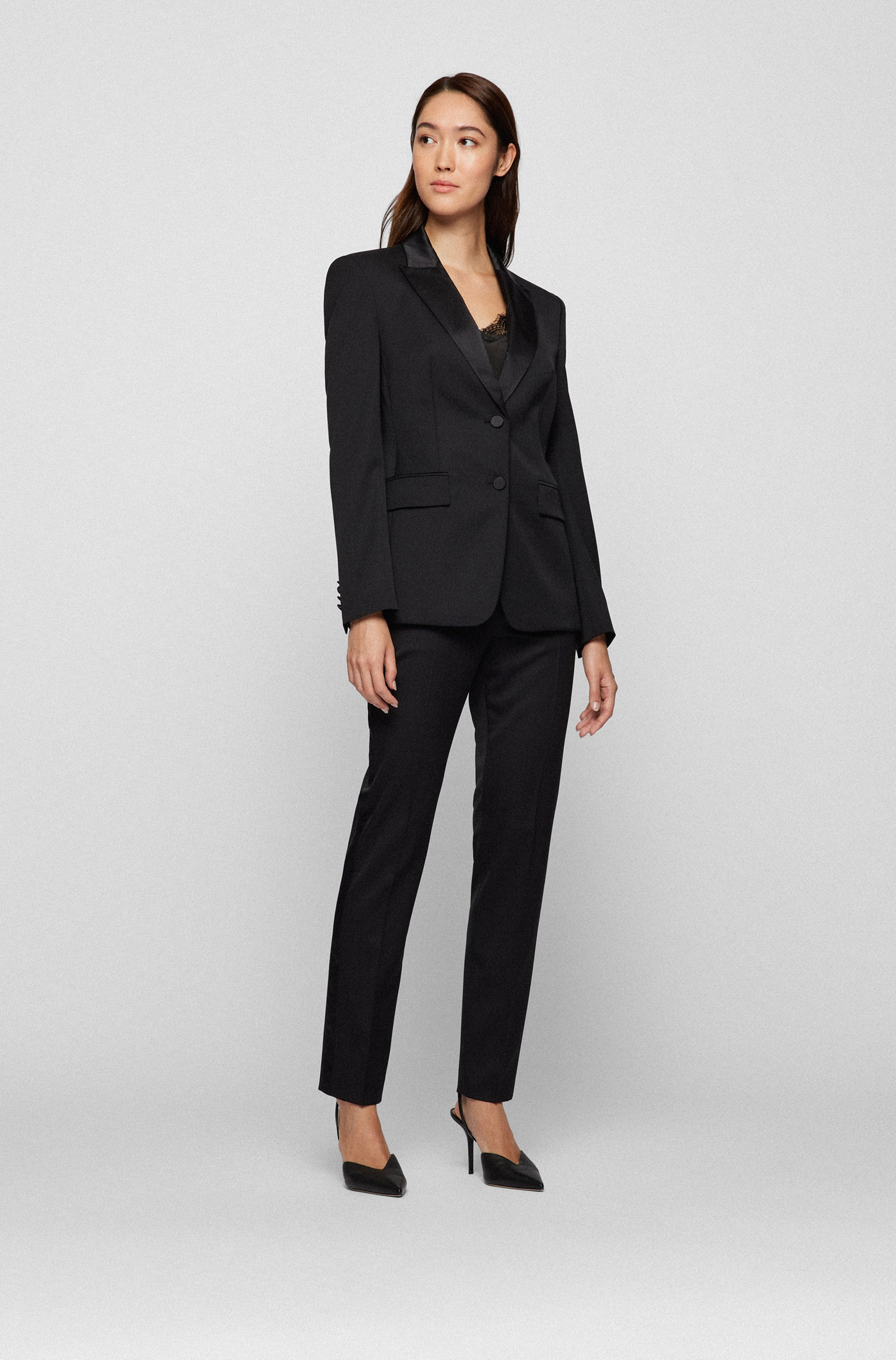 Regular-fit tuxedo trousers with silk trims