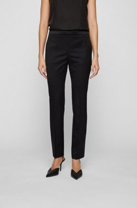 Regular-fit tuxedo trousers with silk trims, Black