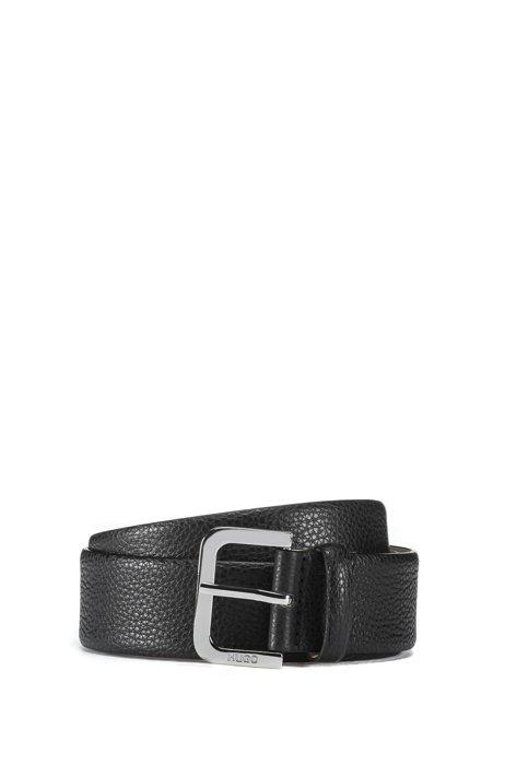 Italian-made belt in grained leather, Black