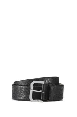Italian-made belt in grained leather, Black