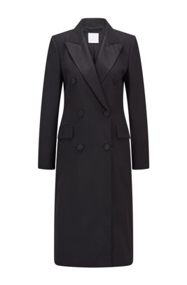 Long-length blazer coat in wool with silk lapels, Black
