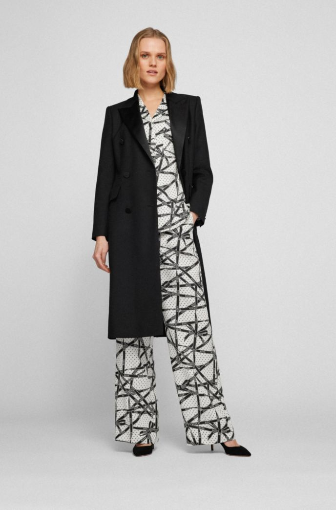 Long-length blazer coat in wool with silk lapels