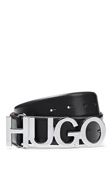 Cinturón de piel con estructura y hebilla de metal pulido con logo, Negro