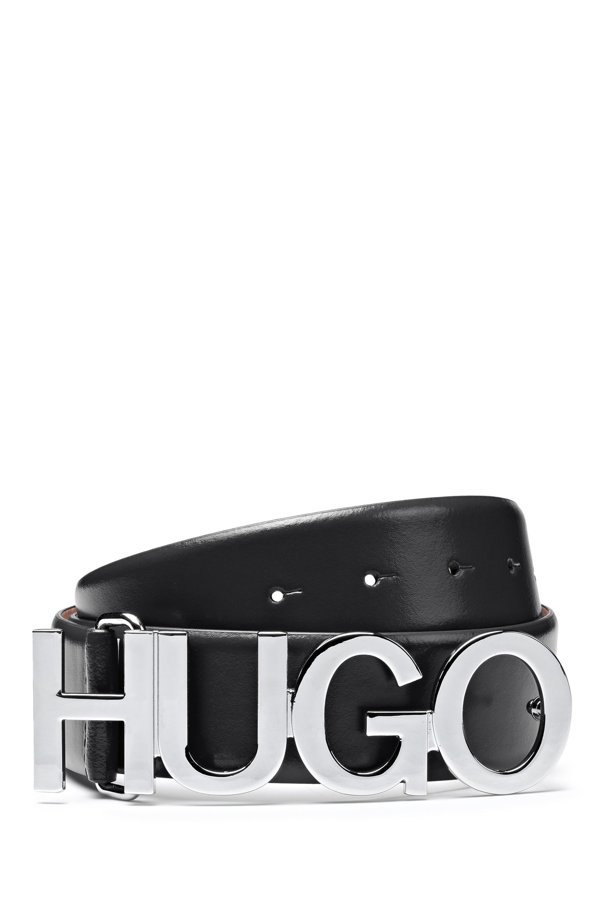 Structured-leather belt with logo buckle in polished metal, Black