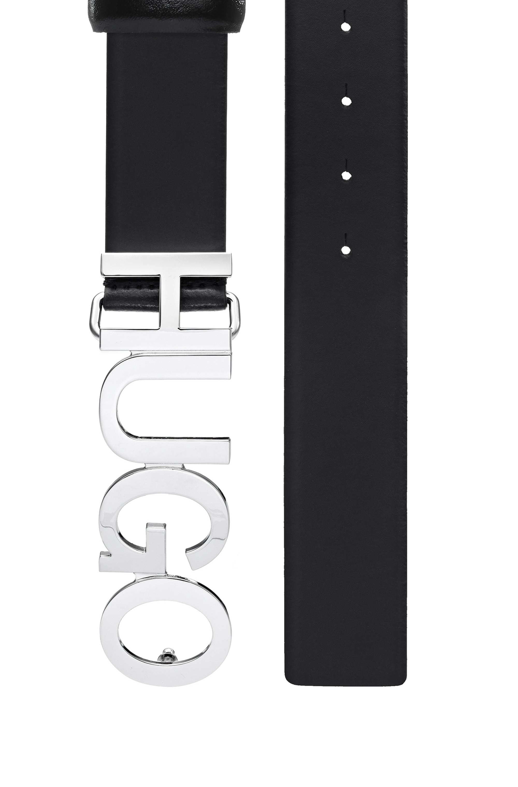 Structured-leather belt with logo buckle in polished metal