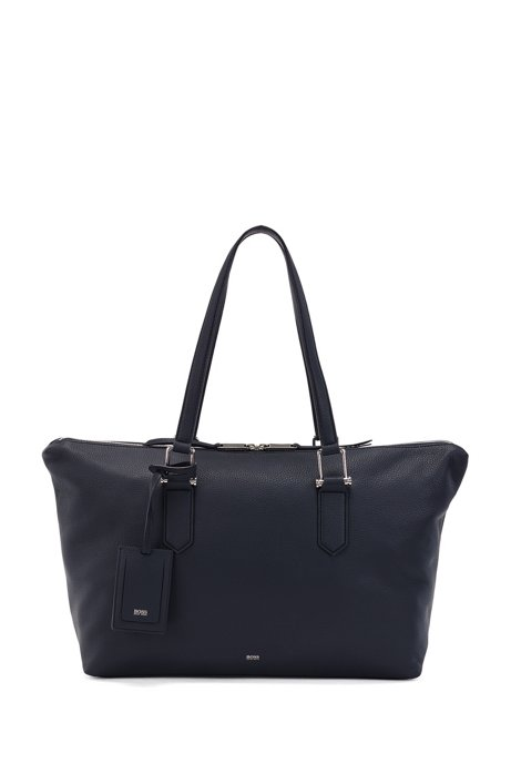 Grainy-leather tote bag with signature hardware, Dark Blue