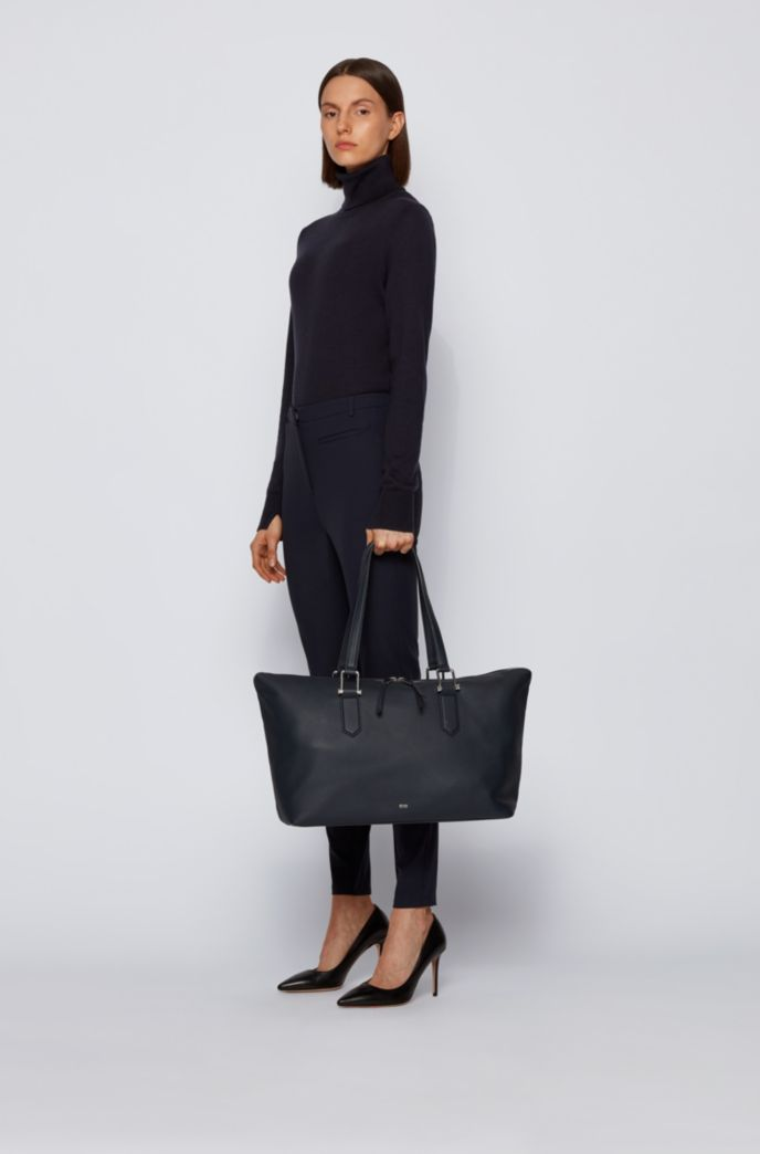 Grainy-leather tote bag with signature hardware