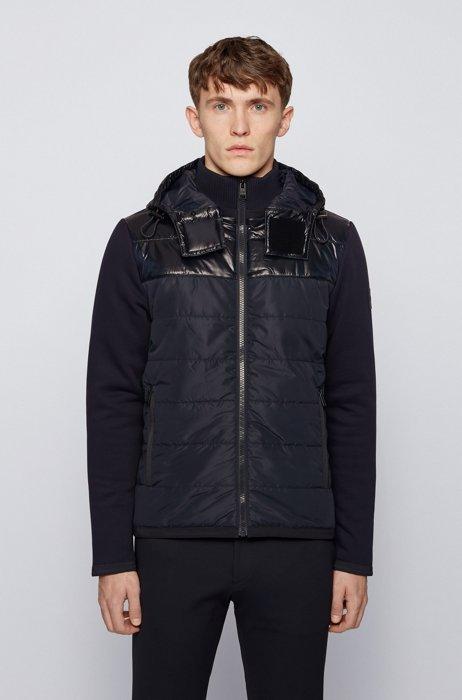 Hybrid hooded sweatshirt with foil-print logo, Dark Blue