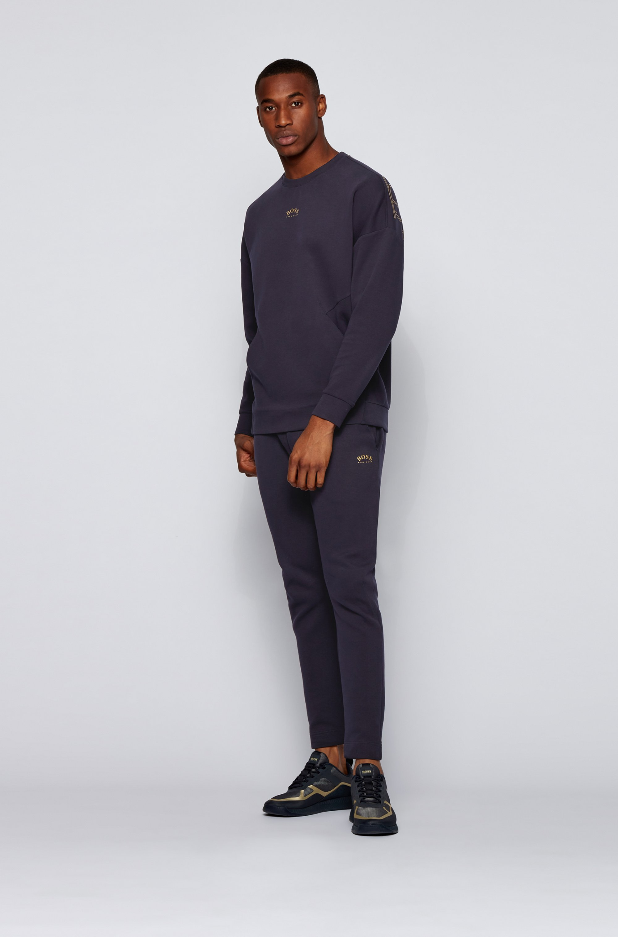 Cotton-blend relaxed-fit sweatshirt with curved-logo print