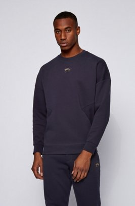 Cotton-blend relaxed-fit sweatshirt with curved-logo print, Dark Blue