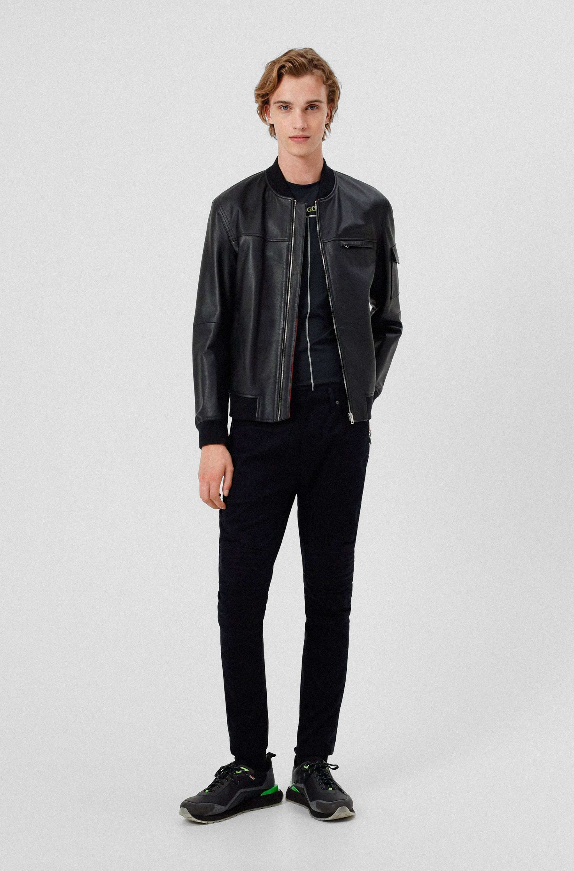 Slim-fit leather jacket with contrast lining