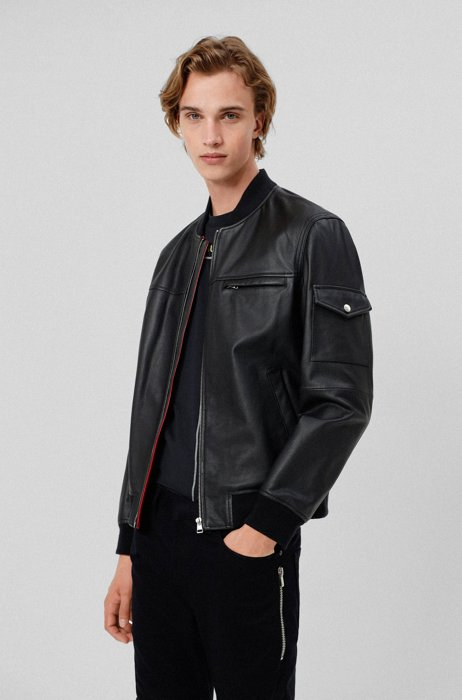 Slim-fit leather jacket with contrast lining, Black
