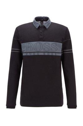 Polo à manches longues en coton orné d'un grand logo, Noir