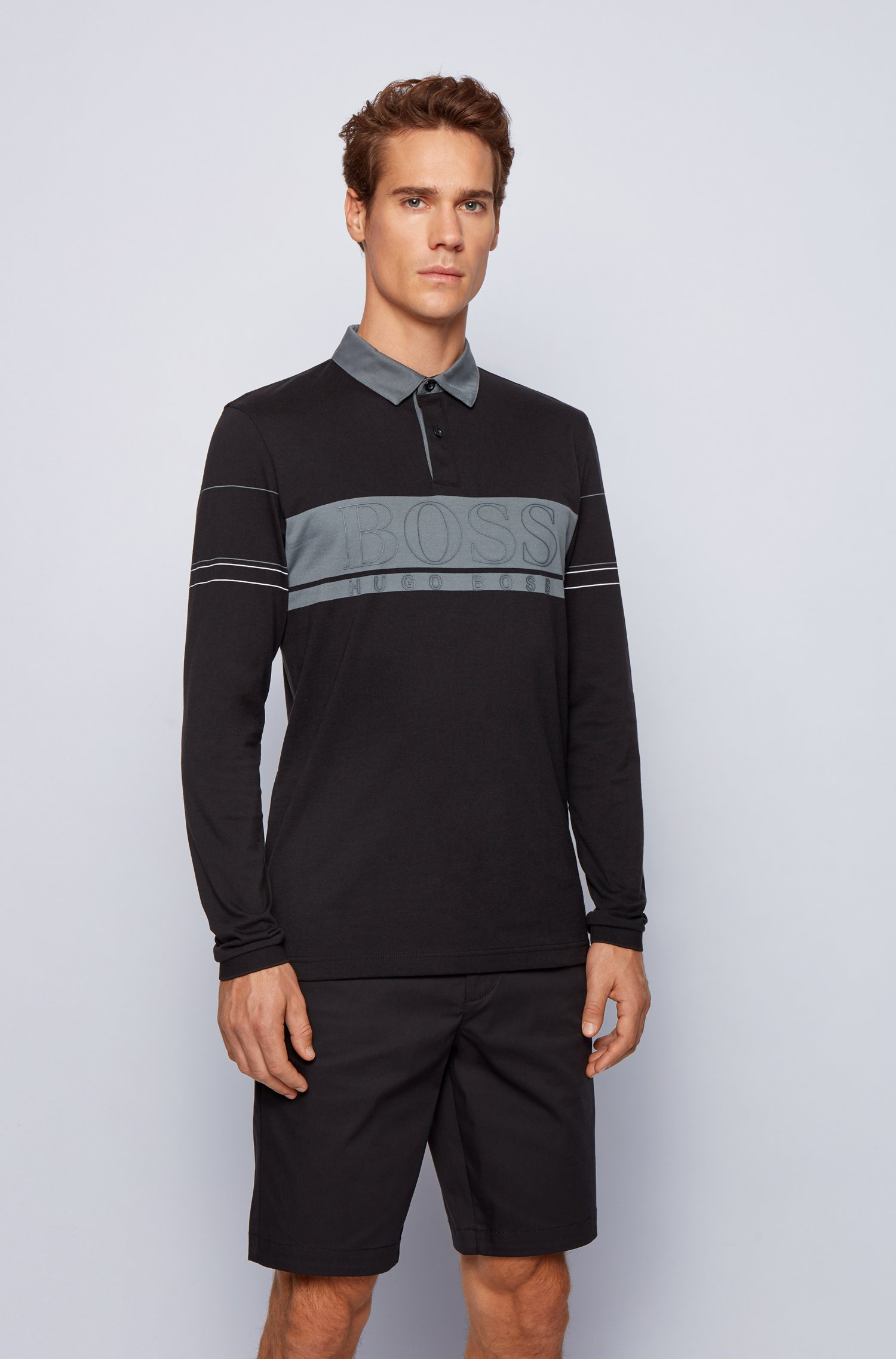 Long-sleeved polo shirt in cotton with block logo, Black