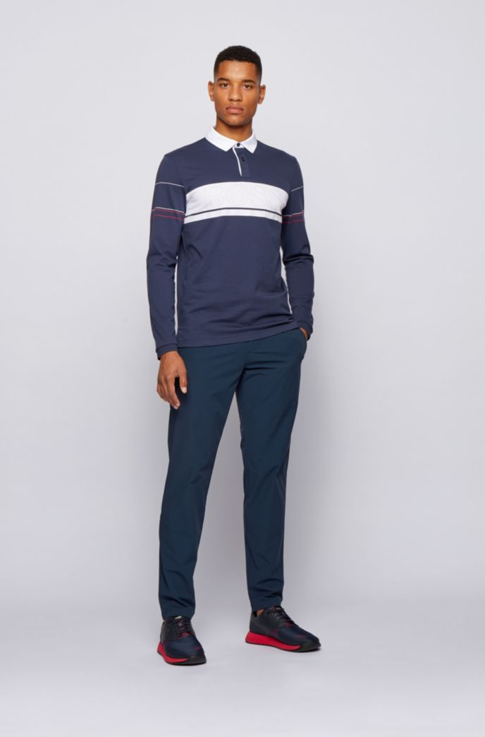 Long-sleeved polo shirt in cotton with block logo