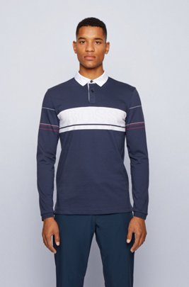 Long-sleeved polo shirt in cotton with block logo, Dark Blue