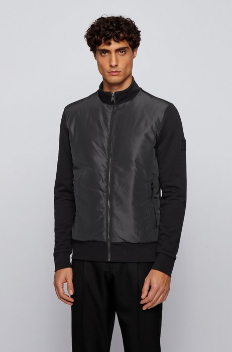 Hybrid zip-through padded sweatshirt with logo badge, Black