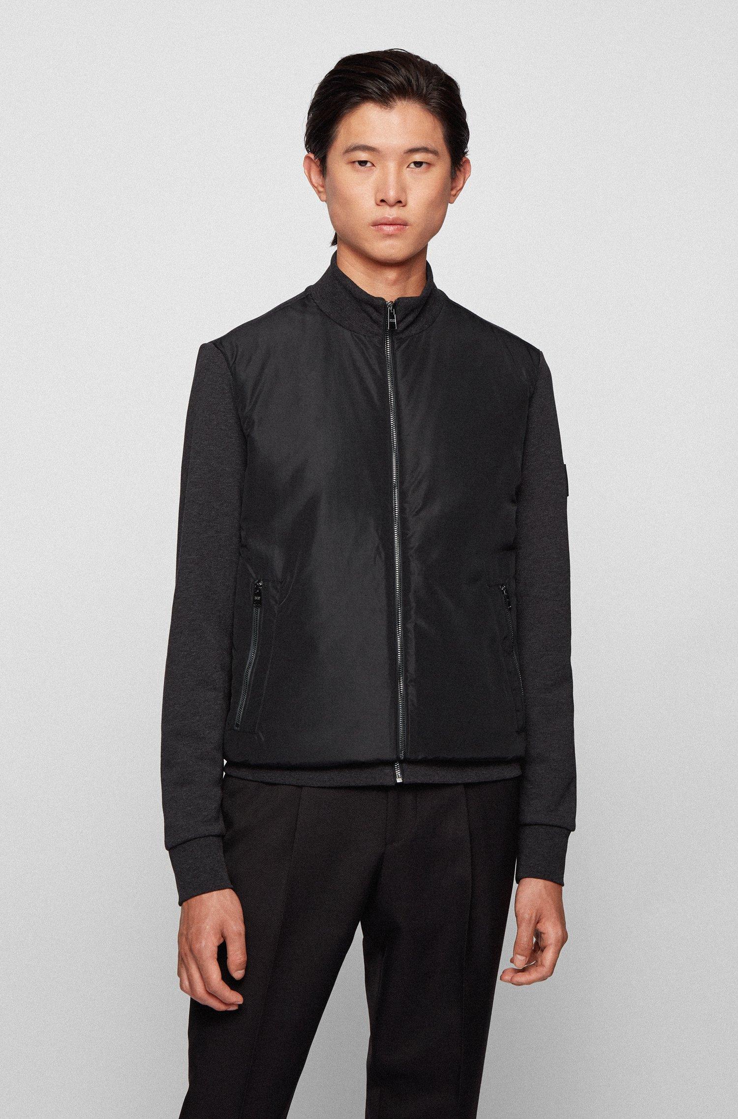 Hybrid zip-through padded sweatshirt with logo badge, Light Grey
