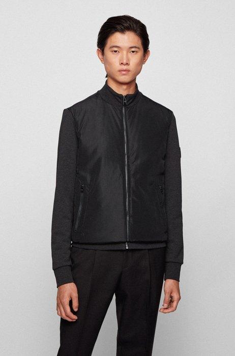 Hybrid zip-through padded sweatshirt with logo badge, Dark Grey