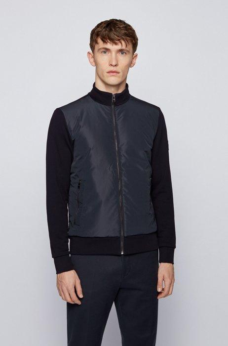 Hybrid zip-through padded sweatshirt with logo badge, Dark Blue