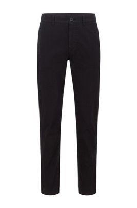 Tapered-fit chinos in brushed stretch-cotton satin, Black