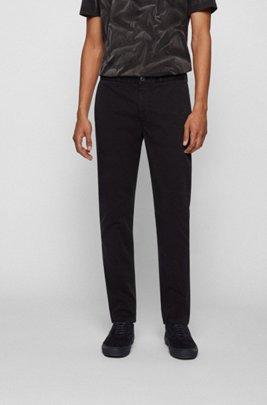 Chino Tapered Fit en satin de coton stretch brossé, Noir