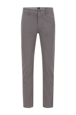 Tapered-fit chinos in brushed stretch-cotton satin, Dark Grey
