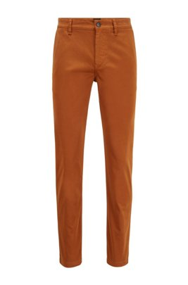 Chino Tapered Fit en satin de coton stretch brossé, Marron