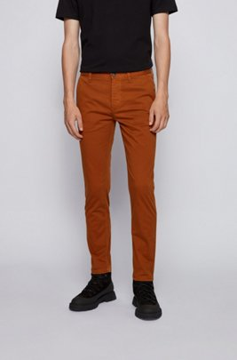 Tapered-fit chinos in brushed stretch-cotton satin, Brown