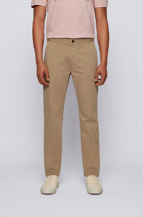 Tapered-fit chinos in brushed stretch-cotton satin, Light Beige
