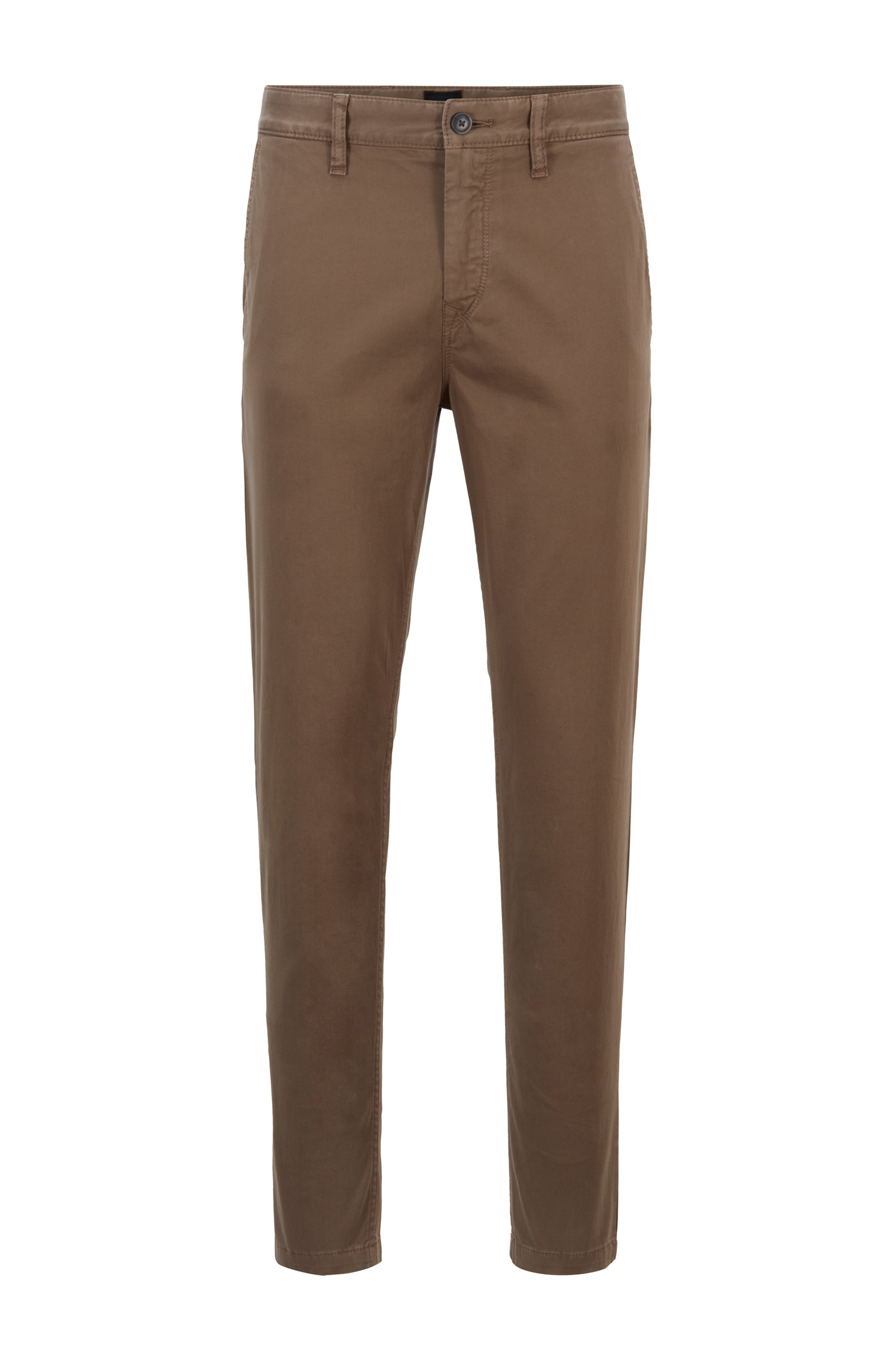 Tapered-Fit Chino aus elastischem Baumwoll-Satin, Braun
