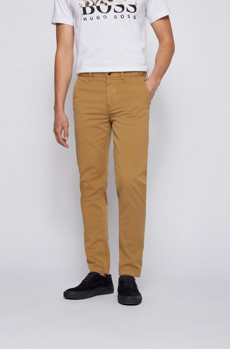 Tapered-fit chinos in brushed stretch-cotton satin, Beige