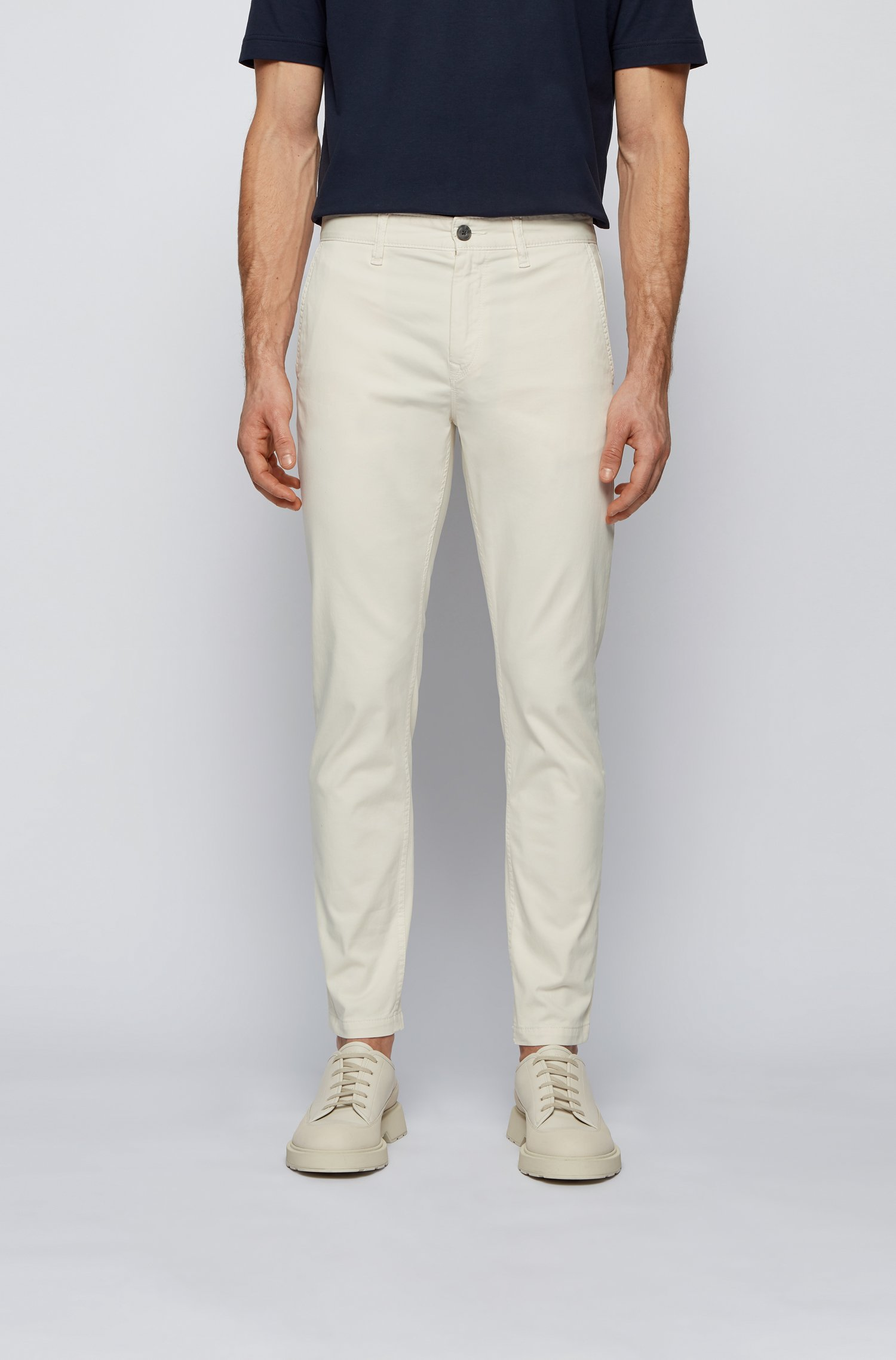 Tapered-fit chinos in brushed stretch-cotton satin, White