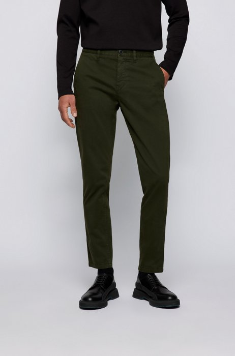 Tapered-fit chinos in brushed stretch-cotton satin, Dark Green