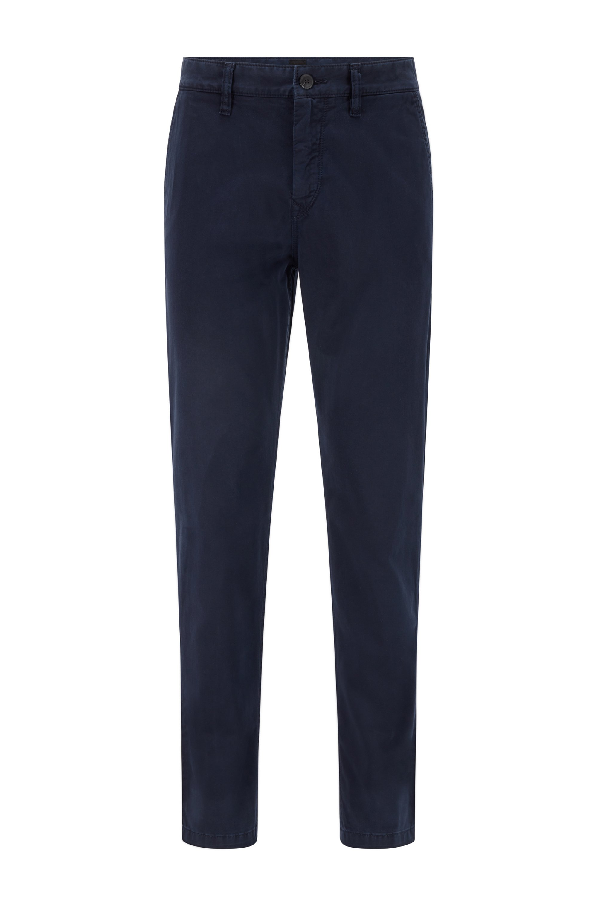 Chino Tapered Fit en satin de coton stretch brossé, Bleu foncé