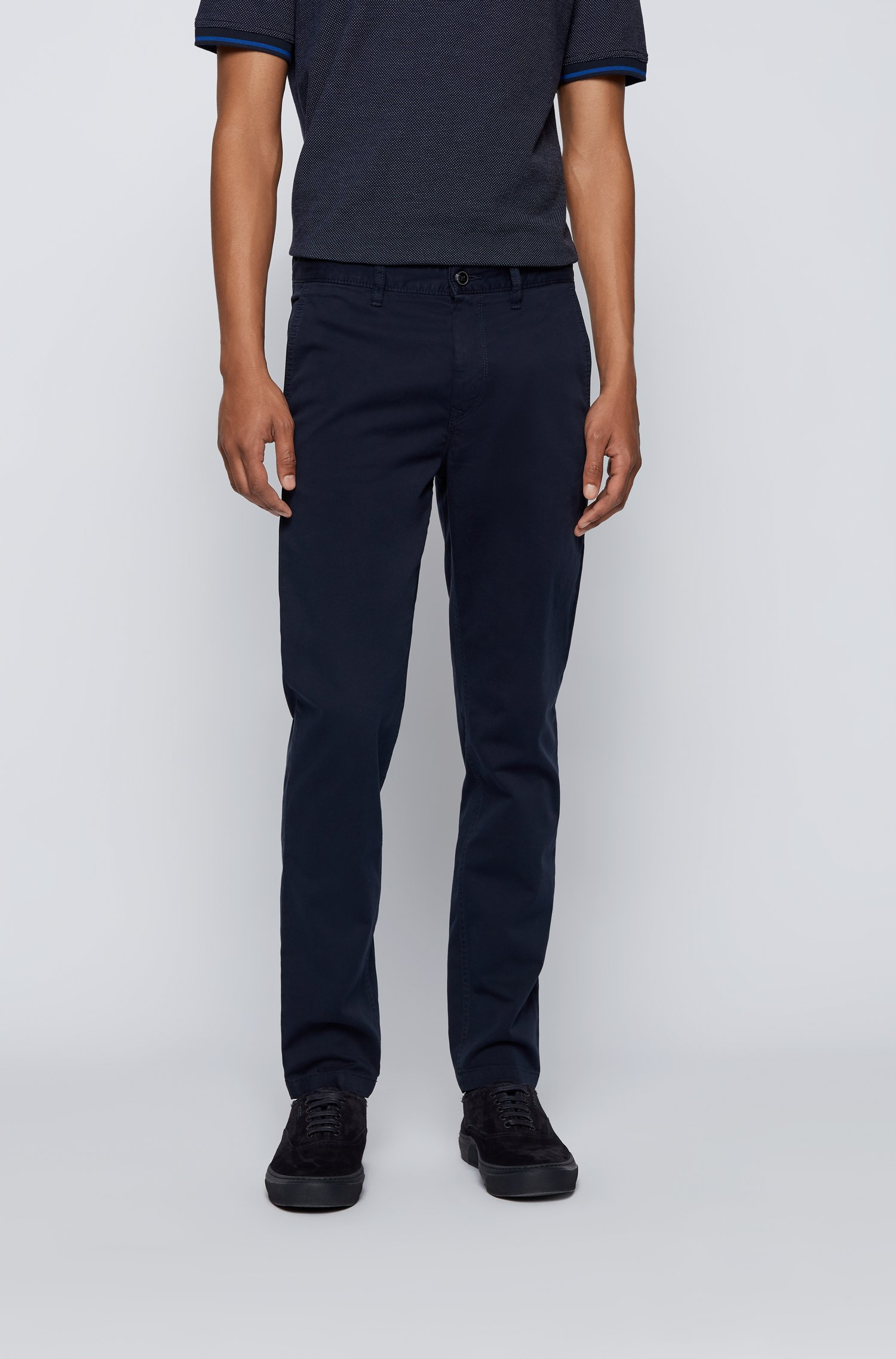 Tapered-fit chinos in brushed stretch-cotton satin, Dark Blue