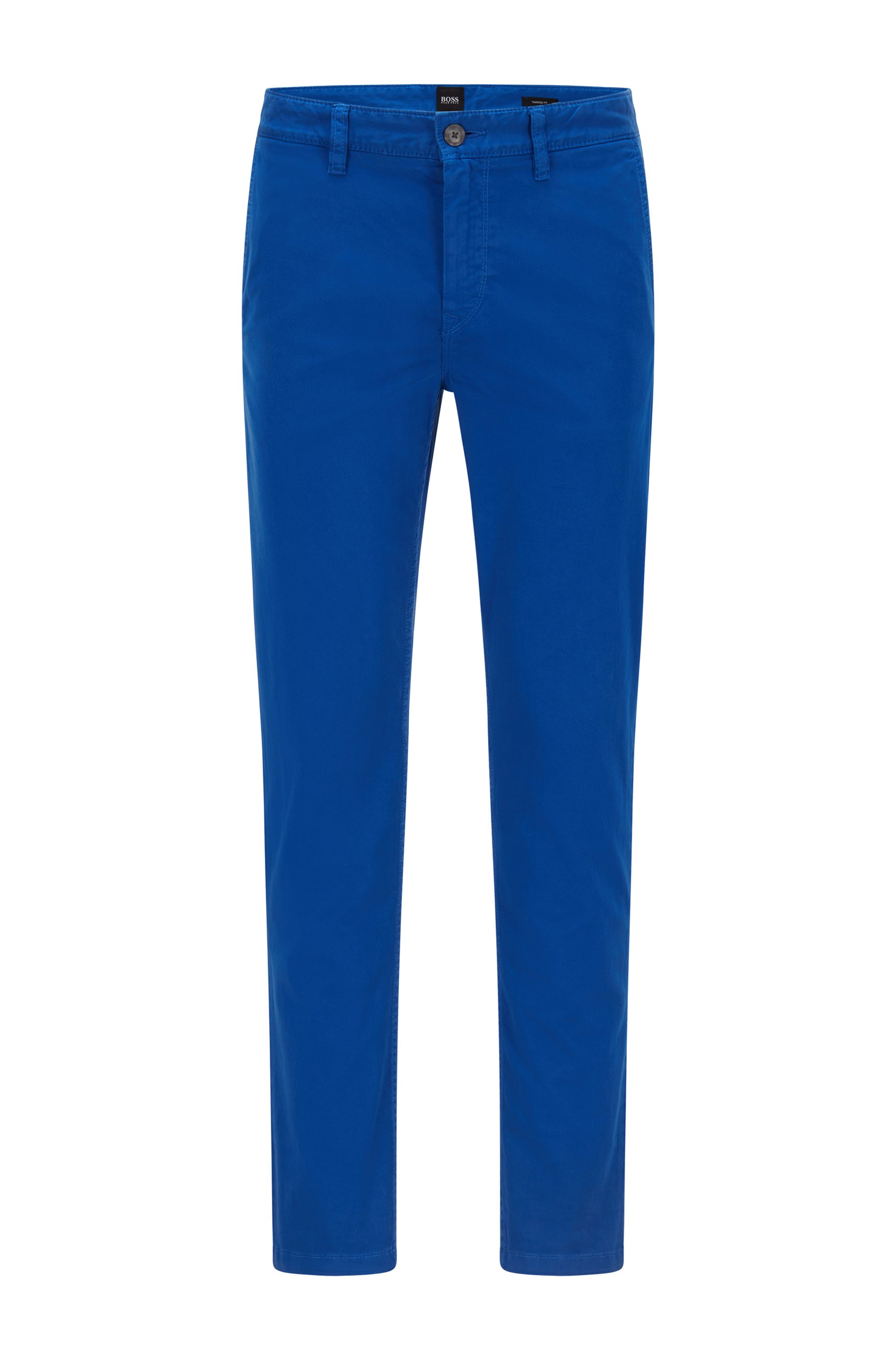 Tapered-fit chinos in brushed stretch-cotton satin, Blue