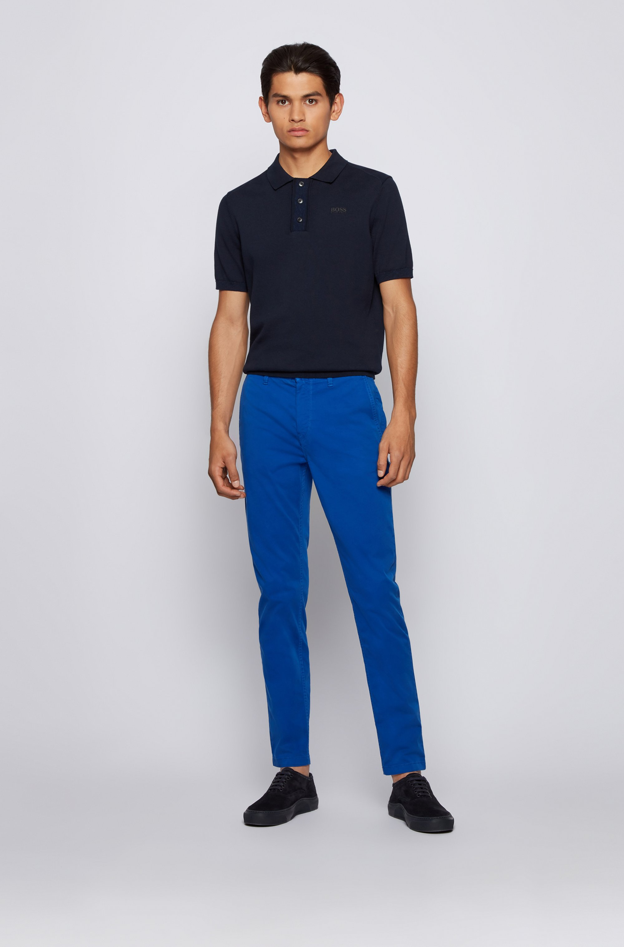 Tapered-fit chinos in brushed stretch-cotton satin