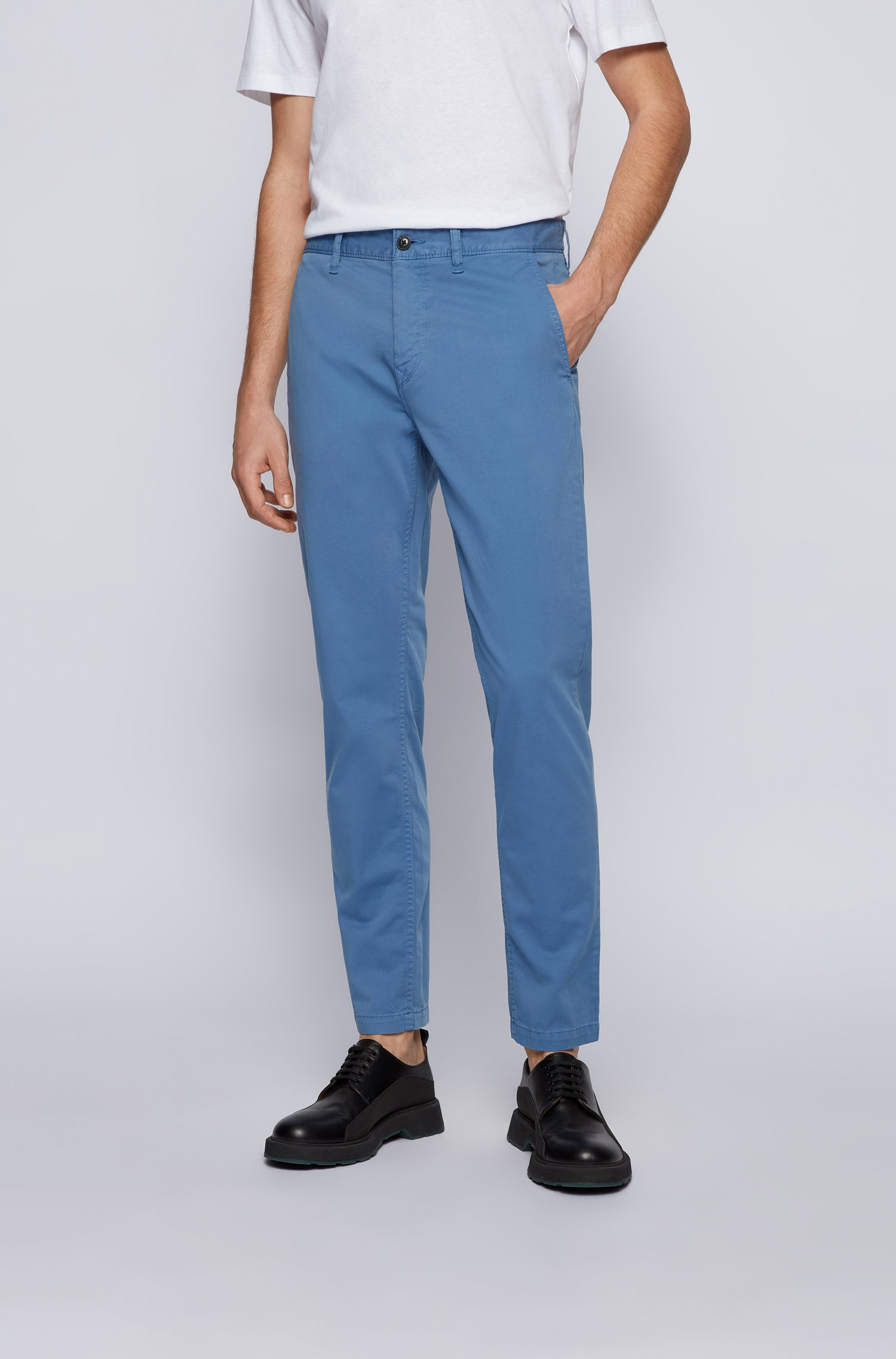 Tapered-fit chinos in brushed stretch-cotton satin, Light Blue