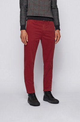 Tapered-fit chinos in brushed stretch-cotton satin, Dark Red
