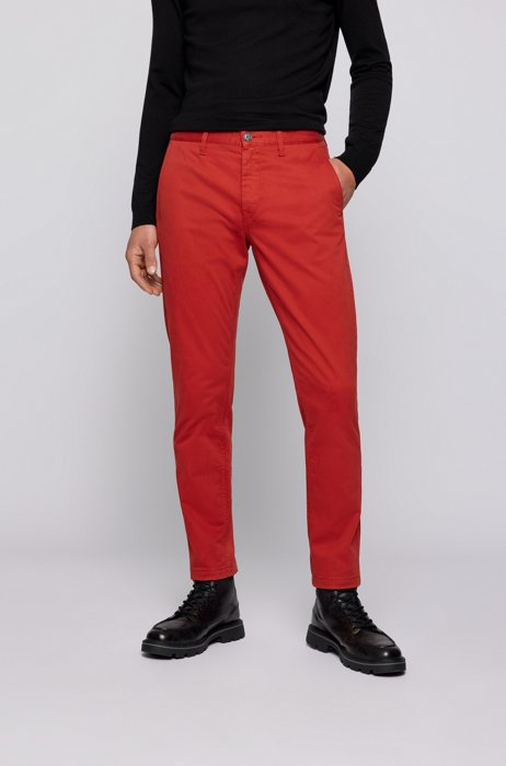 Tapered-fit chinos in brushed stretch-cotton satin, Red