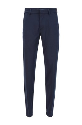 Slim-fit trousers in stretch jersey, Dark Blue