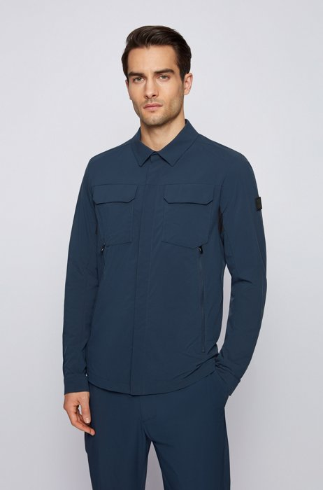 Packable jacket in water-repellent stretch fabric, Dark Blue