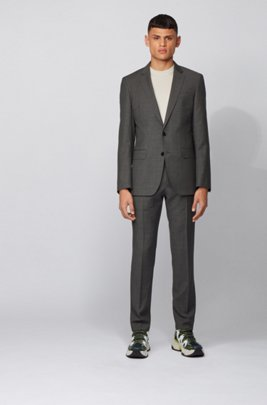 Slim-fit suit in micro-patterned virgin wool serge, Grey