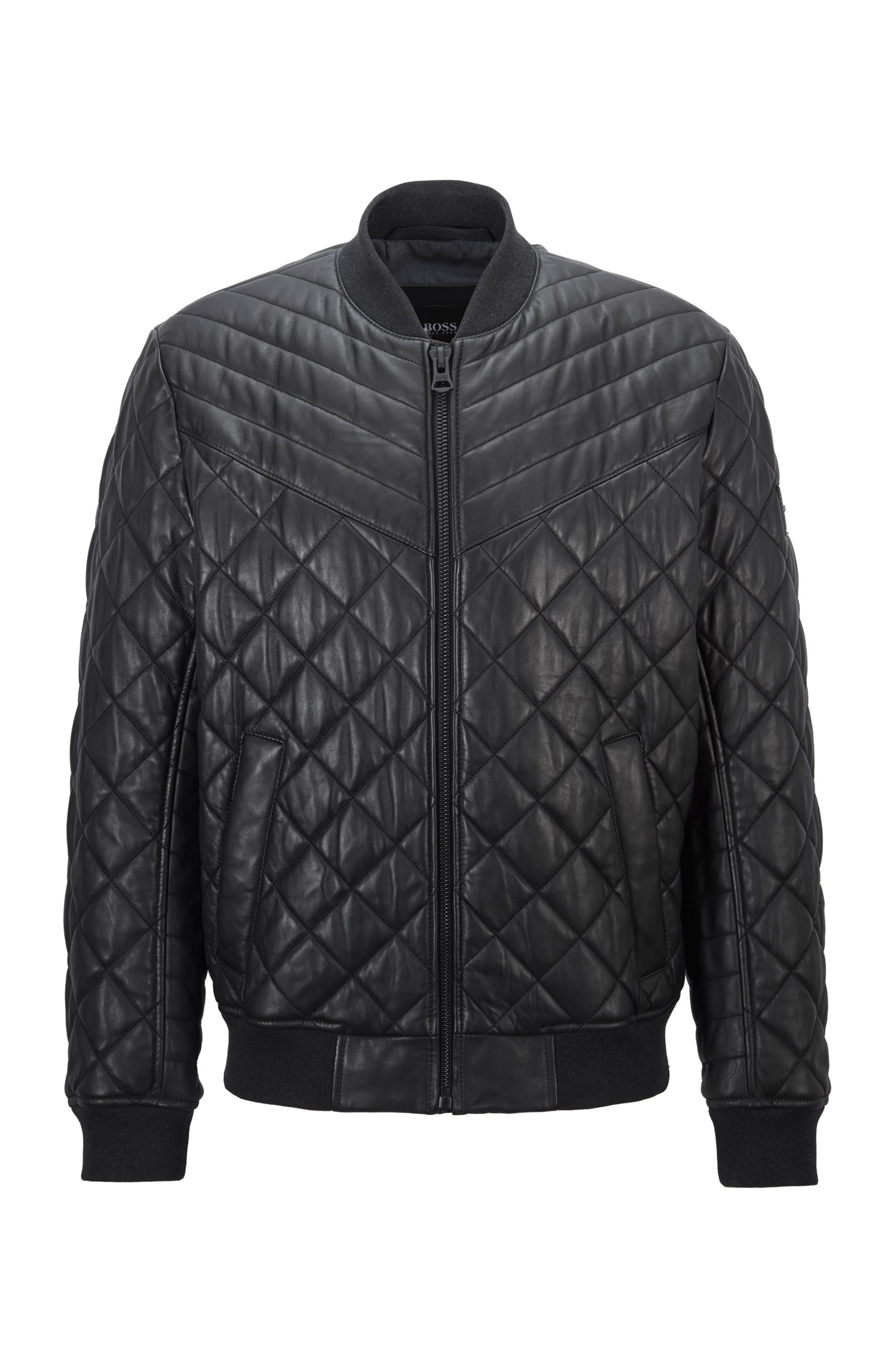 Slim-fit blouson-style quilted jacket in waxed leather, Black