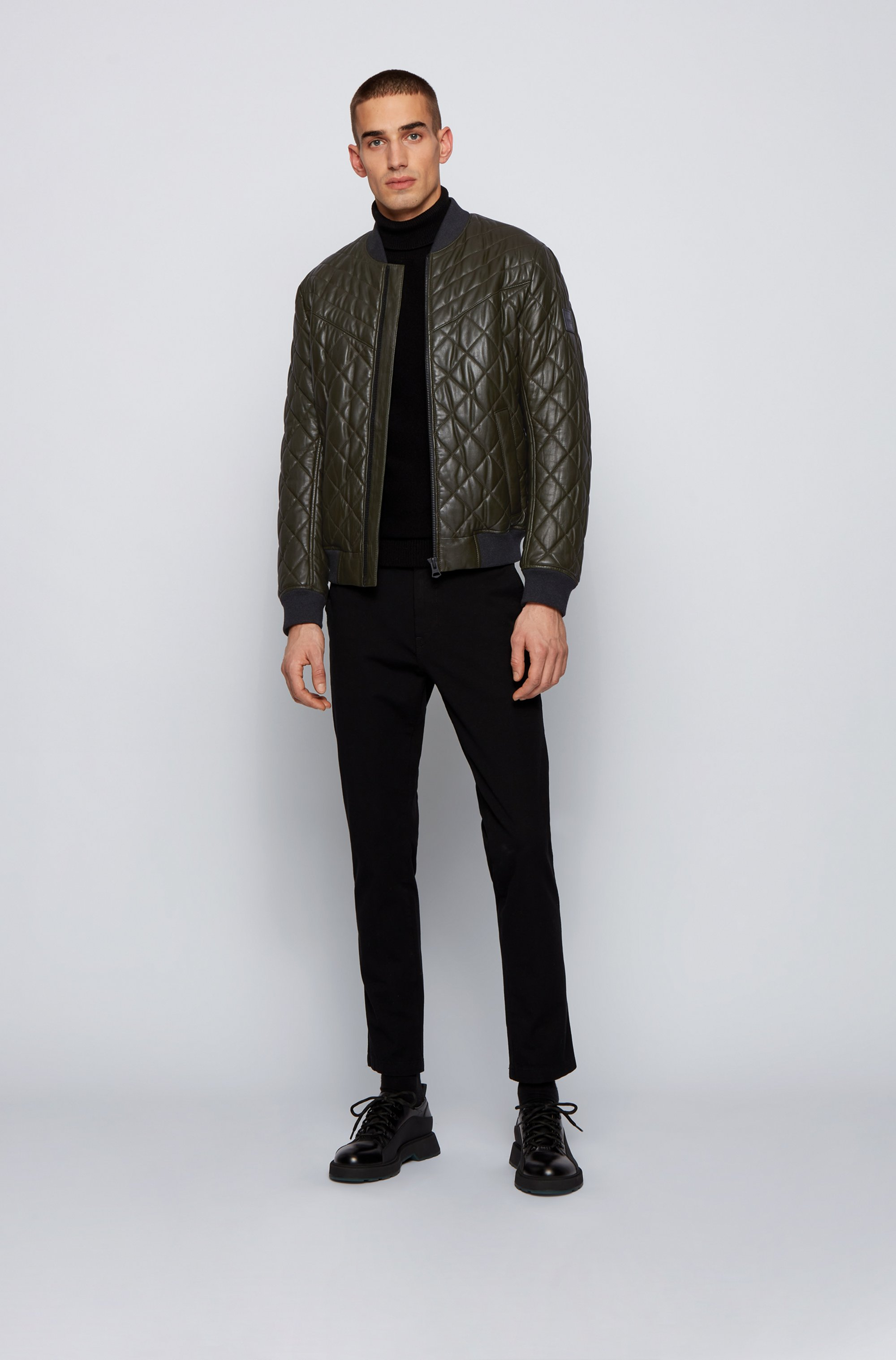 Slim-fit blouson-style quilted jacket in waxed leather