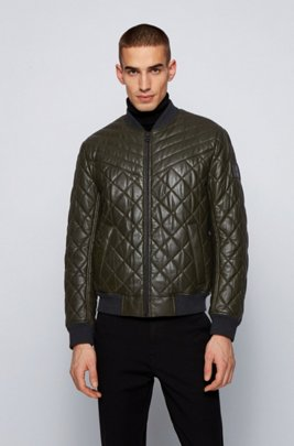 Slim-fit blouson-style quilted jacket in waxed leather, Light Green