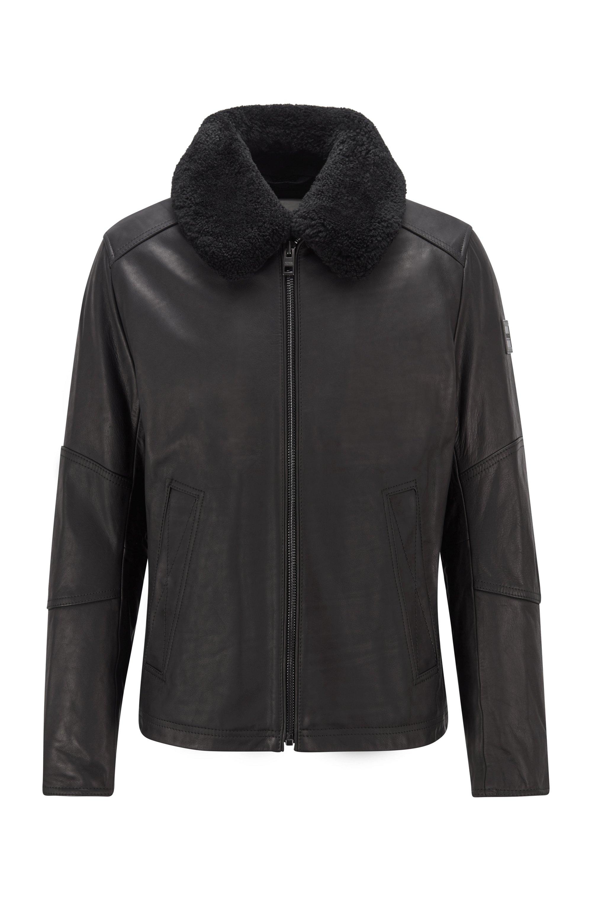 Cazadora de aviador de piel slim fit con cuello de lana de cordero desmontable, Negro