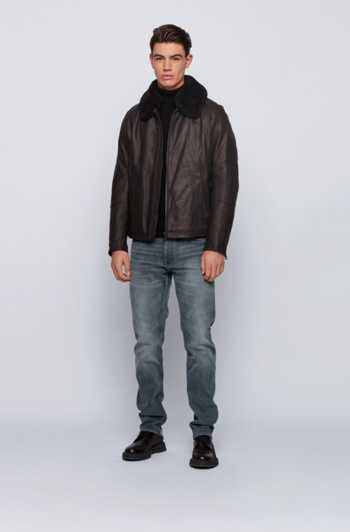 Slim-fit leather aviator jacket with detachable shearling collar