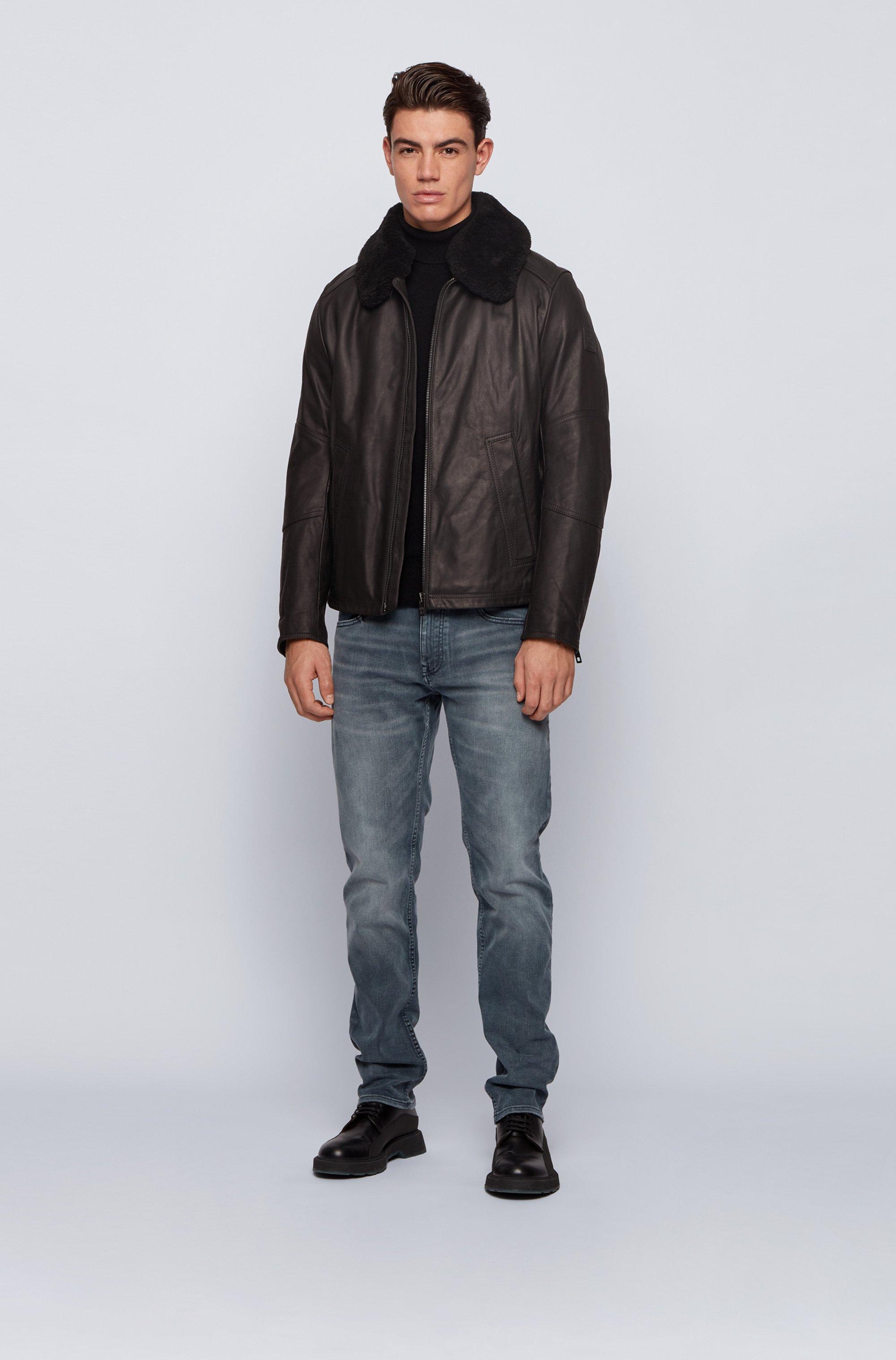 Cazadora de aviador de piel slim fit con cuello de lana de cordero desmontable